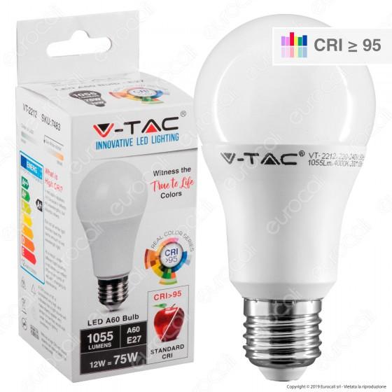 V-Tac VT-2212 Lampadina LED E27 12W Bullb A60 CRI ≥95 - SKU 7483