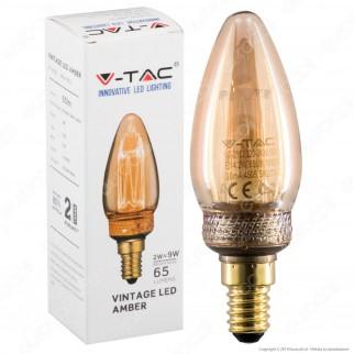 V-Tac VT-2152 Lampadina LED E14 2W Candela Ambrata con Incisioni Laser - SKU 7472