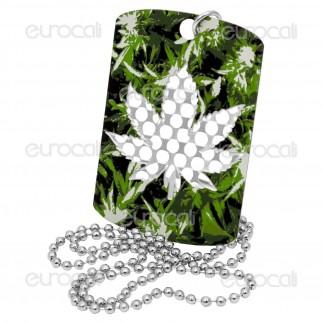 Grinder Collana con Mini Tessera Tritatabacco in Metallo - Cammo Leaf