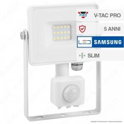 V-Tac PRO VT-10-S Faretto LED 10W Ultra Sottile Slim Chip Samsung con Sensore Colore Bianco - SKU 435