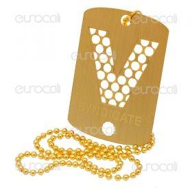 Grinder Collana con Mini Tessera Tritatabacco in Metallo - Gold V-Syndicate