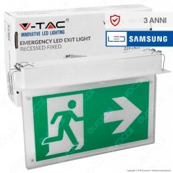 V-Tac PRO VT-522-S Lampada LED da Incasso 140lm d'Emergenza Anti Black Out Chip Samsung - SKU 835