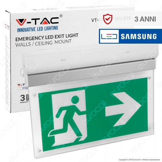 V-Tac PRO VT-519-S Lampada LED con Montaggio Superficiale Inclinabile di 90° 140lm d'Emergenza Anti Black Out - SKU 836