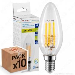 10 Lampadine LED V-Tac VT-2127 E14 6W Candela Filamento - Pack Risparmio