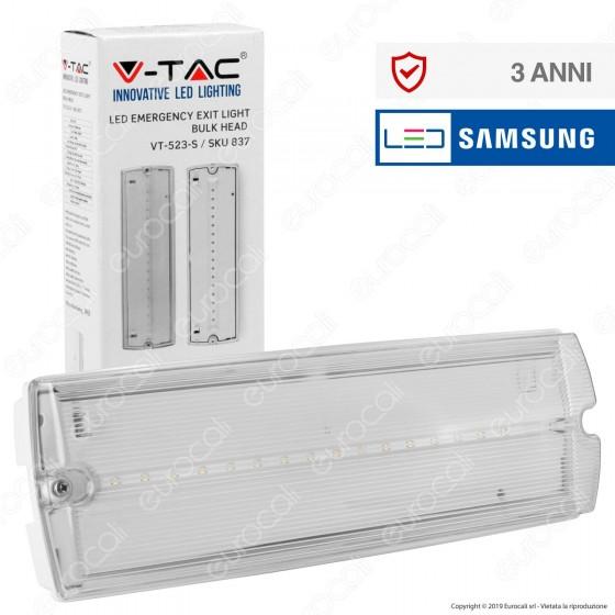 V-Tac PRO VT-523-S Lampada LED d'Emergenza Anti Black Out Grado Protezione IP65 - SKU 837