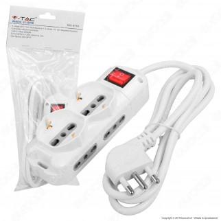 V-Tac Multipresa 6 Posti Salvaspazio Colore Bianco con Interruttore Luminoso - SKU 8734