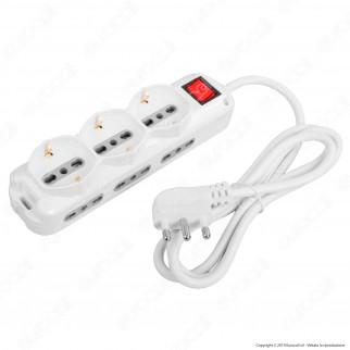 V-Tac Multipresa 9 Posti Salvaspazio Colore Bianco con Interruttore Luminoso - SKU 8735