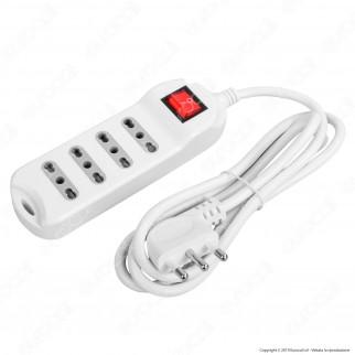 V-Tac Multipresa 4 Posti Colore Bianco con Interruttore Luminoso - SKU 8740