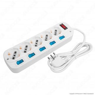 V-Tac Multipresa 5 Posti Colore Bianco con Interruttori Singoli e Generale e Protezione Ripristinabile - SKU 8738