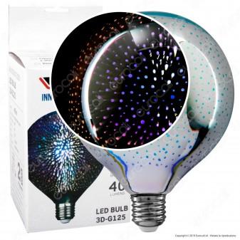 V-Tac VT-2233 Lampadina E27 Filamento LED 3W Globo G125 Vetro Specchiato Argento Effetto 3D - SKU 2706