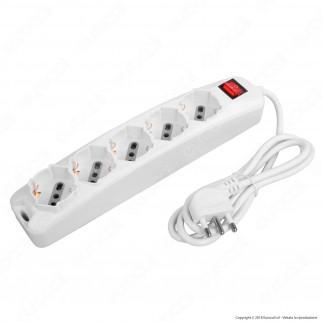 V-Tac Multipresa 5 Posti Colore Bianco con Interruttore Luminoso - SKU 8712