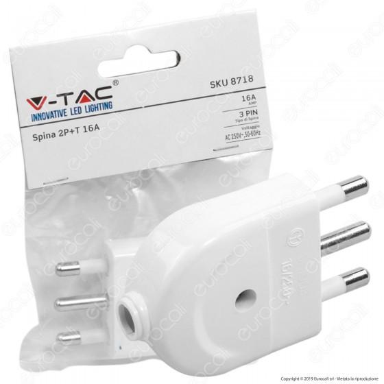 V-Tac Spina Singola 16A con Uscita Cavo Dritta Colore Bianco - SKU 8718