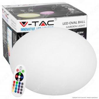 V-Tac VT-7801 Sfera Ovale Multicolor LED RGB 1W Ricaricabile con Telecomando IP67 - SKU 40141