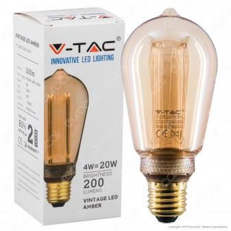 V-Tac VT-2185 Lampadina LED E27 4W Bulb ST64 Ambrata con Incisioni Laser - SKU 7474