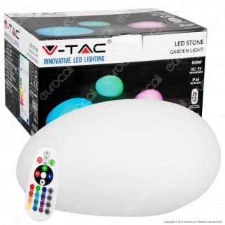 V-Tac VT-7802 LED Stone Multicolor RGB 1W Ricaricabile con Telecomando IP67 - SKU 40151