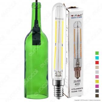 V-Tac Lampadario in Vetro a Forma di Bottiglia + Lampadina LED E14 4W Tubolare Filament