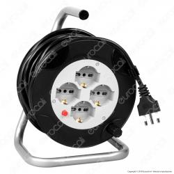 V-Tac Prolunga Avvolgicavo Spina 16A e 4 Prese 10/16A Bipasso/Schuko Colore Nero 15 metri - SKU 8702