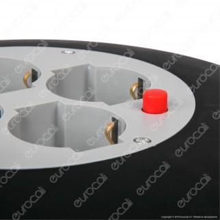 V-Tac Prolunga Avvolgicavo Spina 16A e 4 Prese 10/16A Bipasso/Schuko Colore Nero 25 metri - SKU 8703