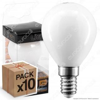 10 Lampadine LED Intereurope Light E14 4W MiniGlobo P45 Milky Filamento - Pack Risparmio