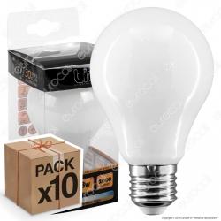 10 Lampadine LED Intereurope Light E27 8W Bulb A60 Milky Filamento - Pack Risparmio