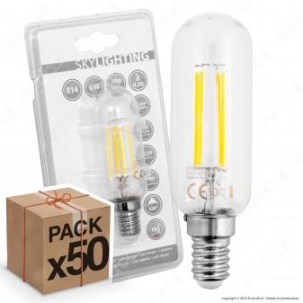 50 Lampadine LED SkyLighting E14 6W Tubolare a Filamento - Pack Risparmio