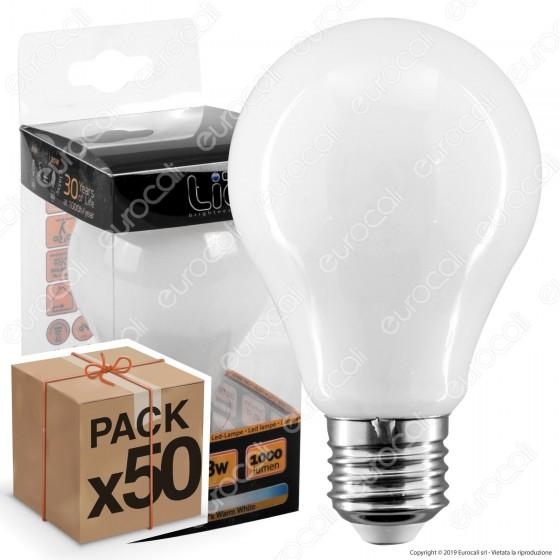 50 Lampadine LED Intereurope Light E27 8W Bulb A60 Milky Filamento - Pack Risparmio