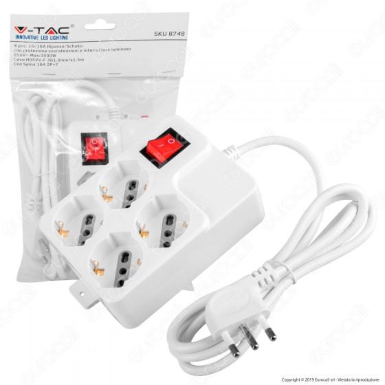 V-Tac Multipresa 4 Posti Colore Bianco con Interruttore Luminoso e Protezione Ripristinabile - SKU 8748