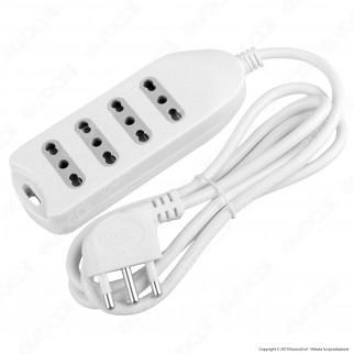 V-Tac Multipresa 4 Posti Colore Bianco con Attacco a Parete - SKU 8707