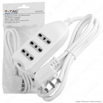 V-Tac Multipresa 3 Posti Colore Bianco con Attacco a Parete - SKU 8706