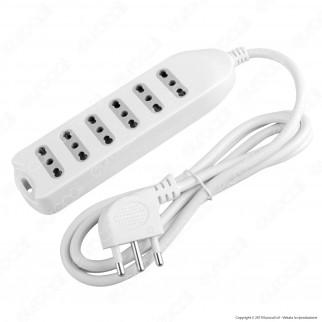V-Tac Multipresa 5 Posti Colore Bianco con Attacco a Parete - SKU 8709