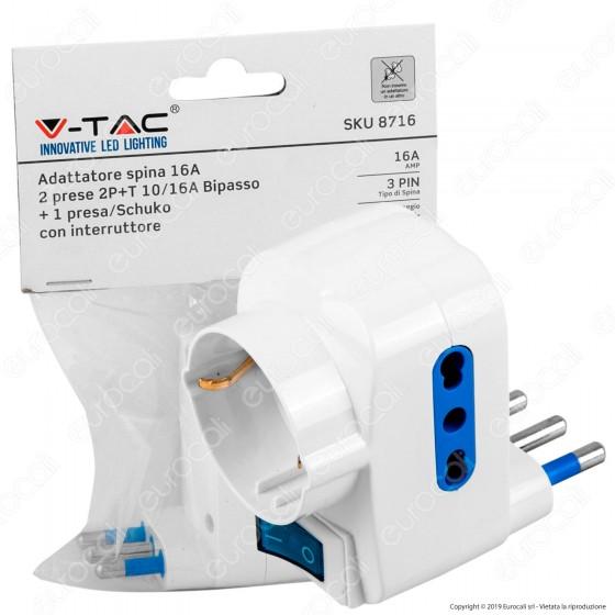 V-Tac Adattatore Triplo con Schuko Colore Bianco con Interruttore Luminoso - SKU 8716