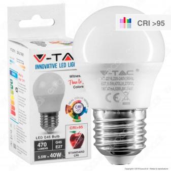 V-Tac VT-2216 Lampadina LED E27 5,5W MiniGlobo G45 CRI ≥95 - SKU 7491