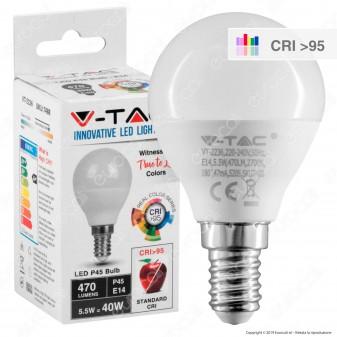 V-Tac VT-2236 Lampadina LED E14 5,5W MiniGlobo P45 CRI ≥95 - SKU 7488 / 7489 / 7490