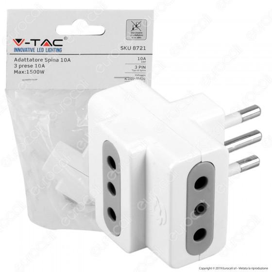 V-Tac Multipresa Adattatore Triplo con Prese 10A - SKU 8721