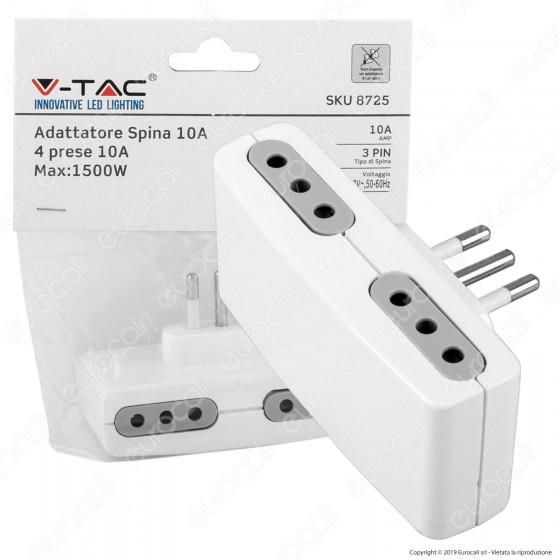 V-Tac Multipresa Adattatore Quadruplo con Prese 10A - SKU 8725