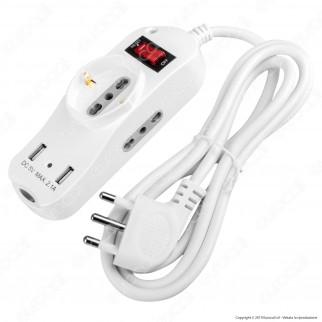 V-Tac Multipresa 3 Posti e 2 Prese USB Colore Bianco con Interruttore Luminoso - SKU 8745