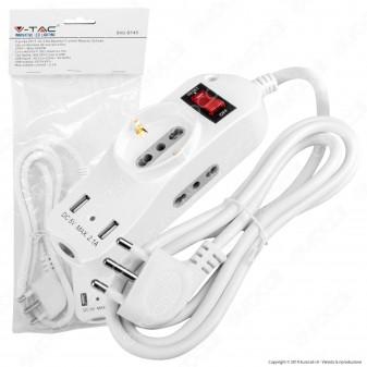 V-Tac Multipresa 3 Posti e 2 Prese USB Colore Bianco con Protezione Ripristinabile e Attacco a Parete - SKU 8745