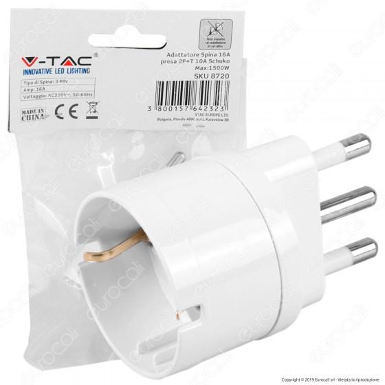 V-Tac Adattatore Singolo Schuko con Spina 16A Colore Bianco - SKU 8720
