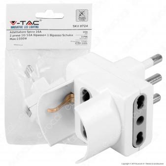 V-Tac Multipresa Adattatore Triplo con Schuko 10/16A Colore Bianco - SKU 8724