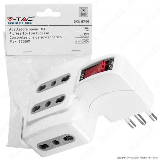 V-Tac Multipresa Adattatore Quadruplo Colore Bianco con Protezione Ripristinabile - SKU 8746