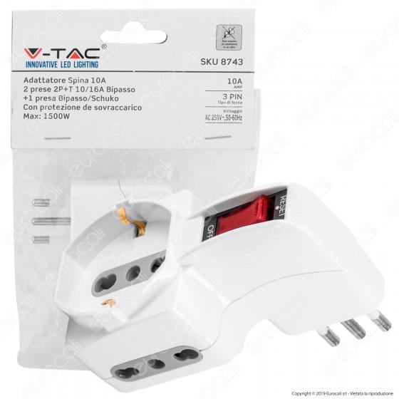 V-Tac Multipresa Adattatore Quadruplo Colore Bianco con Protezione Ripristinabile - SKU 8743