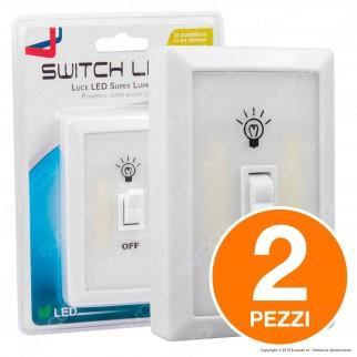 Kit 2 Switch Light Intergross Luce LED a Batteria con Interruttore a Levetta