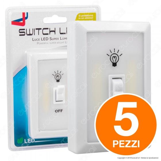 Kit 5 Switch Light Intergross Luce LED a Batteria con Interruttore a Levetta