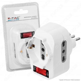 V-Tac Multipresa Adattatore Triplo Colore Bianco con Protezione Ripristinabile e Spina Rotante - SKU 8744