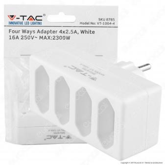 V-Tac VT-1004 Multipresa Adattatore Quadruplo 4x2,5A Colore Bianco - SKU 8785