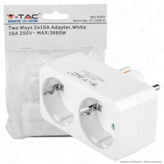V-Tac VT-1006 Multipresa Adattatore Doppio Colore Bianco - SKU 8783