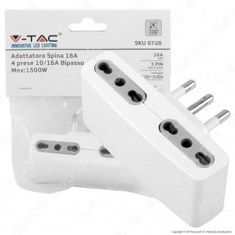 V-Tac Multipresa Adattatore Quadruplo con Spina 16A - SKU 8726
