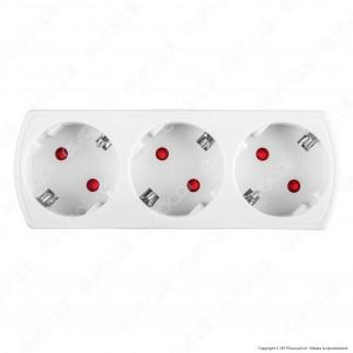 V-Tac VT-1011 Multipresa Adattatore Triplo Colore Bianco - SKU 8789