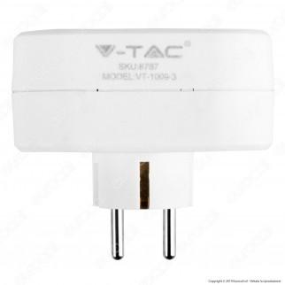 V-Tac VT-1009 Multipresa Adattatore Triplo Colore Bianco - SKU 8787