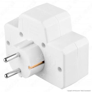 V-Tac VT-1010 Multipresa Adattatore Triplo Colore Bianco con Interruttore Luminoso - SKU 8788